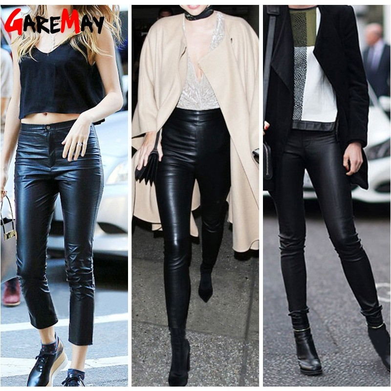d6c7069eccd07 ... Autumn Women's Leather Pants Women Female Winter High Waisted Pants  Leather Trousers Women PU Skinny Stretch ...