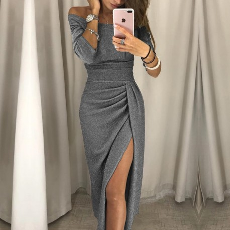 2018 new fashion lady sexy one-shoulder dress autumn long-sleeved knee-length dress