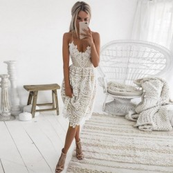 Sexy Party Dress Women Summer Deep V Neck Backless Lace Dresses Fashion Sleeveless Halter Bandage Midi Dress BF