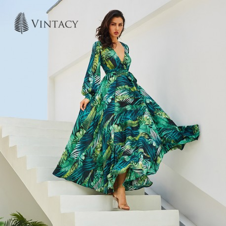 4cc9122e68 Vintacy Long Sleeve Dress Green Tropical Beach Vintage Maxi Dresses Boho  Casual V Neck Belt Lace Up Tunic Draped Plus Size Dress