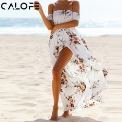 CALOFE Boho Print Long Party Dress Women Sexy Off Shoulder Beach Maxi Dress Summer Strapless Split Sundress Plus Size Vestidos