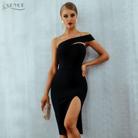 Adyce Bodycon Bandage Dress Vestidos Verano 2018 Summer Women Sexy Elegant  White Black One Shoulder Midi 4643acac52a9