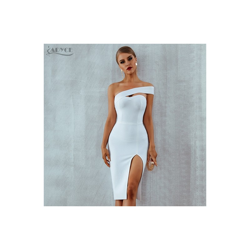 9b60a8bf96a ... Adyce Bodycon Bandage Dress Vestidos Verano 2018 Summer Women Sexy  Elegant White Black One Shoulder Midi