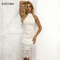 Joyfunear White Dress 2018 Women Hollow Out Sleeveless Sexy Bodycon Dress Elegant Skinny Floral Pattern Lace Dresses Vestido