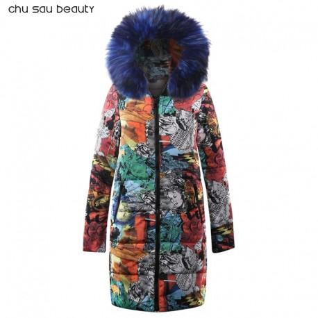 Big fur winter coat thickened parka women stitching slim long winter coat down cotton ladies down parka down jacket women CY1629