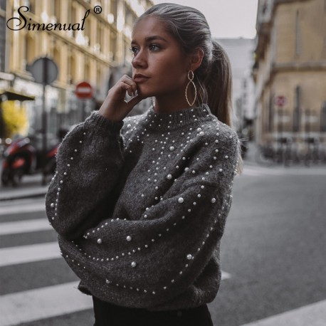 4f476fef3b ... slim jumpers. Simenual Autumn winter 2018 women sweaters and pullovers  bead lantern sleeve knitted sweater pullover female grey