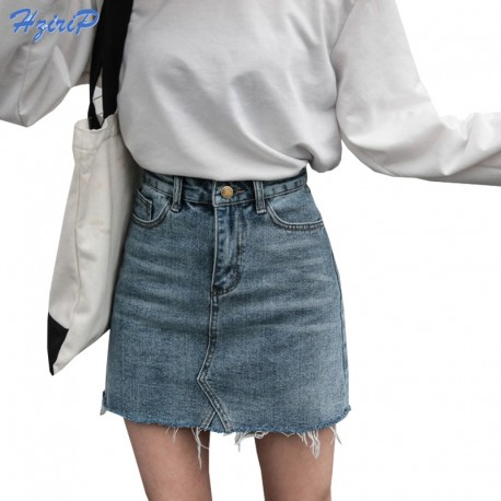 a19966f1b Hzirip Summer Fashion High Waist Skirts Womens Pockets Button Denim Skirt  Female Saias 2018 New All-matched Casual Jeans Skirt