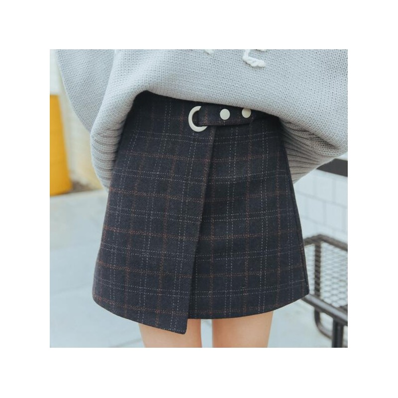 64557a2236 ... 2018 Women'S Ulzzang Autumn And Winter Harajuku Thickened Woolen Plaid  Retro Skirt Female Cute Japanese Kawaii ...
