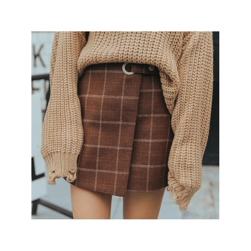 26ee1c1074 ... 2018 Women'S Ulzzang Autumn And Winter Harajuku Thickened Woolen Plaid  Retro Skirt Female Cute Japanese Kawaii